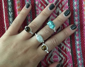 Gemstone Wire Wrapped Rings