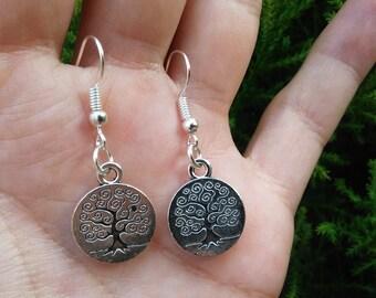 Tree of Life Earrings, Tree of Life Jewelry, Silver Tree of Life Dangle Earrings, Family Tree Earring, Gift for Her, Dangle Tree Earrings