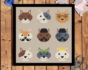 Nine cats cross stitch pattern pdf Cat embroidery pattern Cat lady gifts Pet embroidery Modern cross stitch chart Instant download