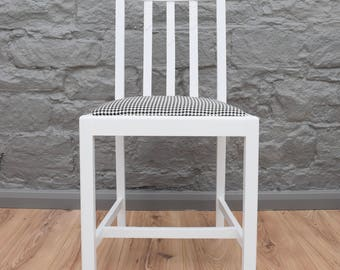 1940s Vintage Dining Chair in White with Houndstooth Upholstery