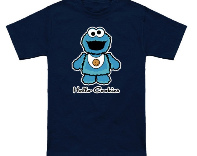 HELLO COOKIE Sesame Street/Hello Kitty Mashup Cookie Monster Muppets Funny Geek T-Shirt Anime Nerd Shirt