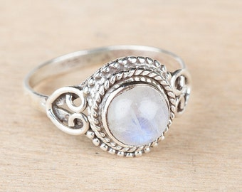 Handmade Natural Rainbow Moonstone Gemstone Pure 925 Sterling Silver Ring, Boho Ring, Healing Crystal Ring.
