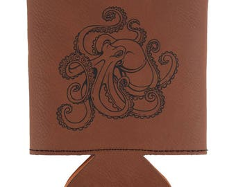 Octopus Tattoo Etched Leatherette Can Cooler