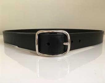 Handmade leather Belt. 3.5-4mm thick Italian full grain Bridle Butt Leather in Black, Tan or Australian Nut. Custom sized. USA Made Buckle.