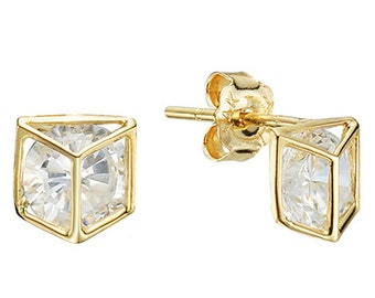 14k Solid Yellow Gold Stud Earrings Tenereu 7800 Charming Triangle Design Lovely