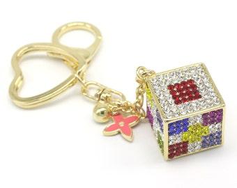 Shiny Dice Keyholder Pure Handmade Key Chain Handbag Accessory For Women Bag