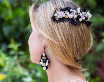 earrings dolce and gabbana,  wedding hair accessories, Boho earrings , Boho hair comb, Boho earrings, rhinestone hair clip
