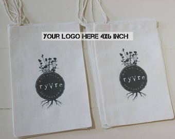 30 Your Logo Here - Custom logo muslin cotton drawstring bags - Company promotions, Business logos, your own design, full color 4x6 inch
