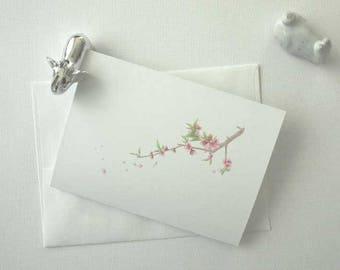 Peach Blossom Greeting Card, Blank Card, Handmade Greeting Cards, Cute Cards, Elegant Cards, All-Purpose Cards