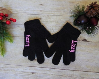 Black personalized kids gloves,personalized kids gloves,winter gloves,gloves for kids,monogramed,gloves,personalized figure skating gloves