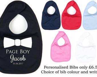 Personalised Page Boy Baby Bib, Wedding Bib, Pageboy Bib