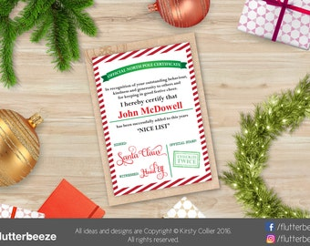 Nice List, Santa, Editable Certificate, good behaviour, Digital File, Nice List Certificate, instant PDF file