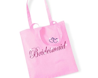 Glittery printed wedding tote bag classic pink colour