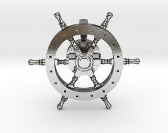 Spinning Ship Wheel Pendant