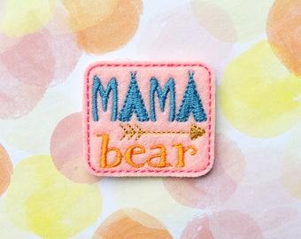 Felties, Mama Bear, Mother's Day, Pink Felties, Felt Applique, Embroidered Applique, Hair Bow Supply, Planner Clip Felties
