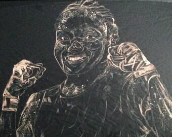 Large modern bleach on tissue portrait by R J Gardham - Nicola Adams 2013