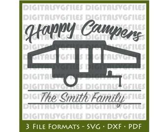 Happy Camper SVG File, Happy Camper SVG for Cutting Machine, Camper Monogram file svg dxf pdf, Pop up Camper Trailer svg Vector Art