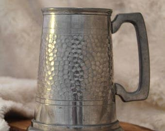 Vintage Hammered Pewter Tankard - B.M & E.A, Sheffield