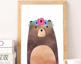 SALE PDF print, Bear Print, Woodland Nursery Decor, Printable Art, Girls Nursery Decor, colorful Nursery, Bear Nursery Art, Print Bear, Baby