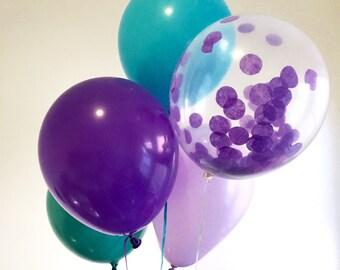 Mermaid Party Supplies  - Mermaid Party Balloons - Under the Sea Party Supplies  - Confetti Balloons