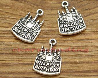 20pcs Happy Birthday Charms Happy Birthday Cake Charm Antique Silver Tone 15x22mm cf2039