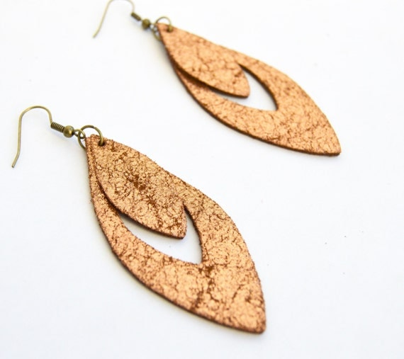 Leather Earrings: Lightweight Statement Earrings--LIMITED EDITION COLOR-Distressed Copper Leather Earrings--Willow