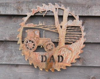 Tractor Saw blade Dad Gift / Rusty Metal Tractor Wall Decor / Farming Gift / Tractor Gift/ Massey Tractor Garden Decor /Tractor Dad Gift