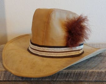 Vintage Leather Cowboy Hat, Vintage Men's Hat, Leather Cowboy Hat, Suede Leather Cowboy Hat, Vintage Menswear