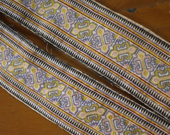 Antique vintage Hmong textile - asian tribal textile - jacket trim border pair from old costume - recycled cross stitch
