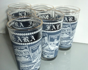 Vintage Niagara Falls Glasses, Set of 6