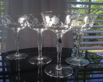 Vintage Etched Optic Glass Champagne Coupes, Set 4
