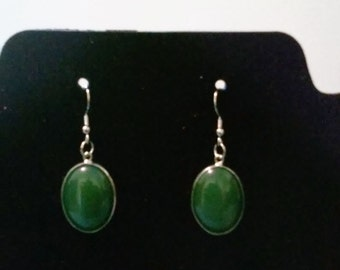 Faux green gem earrings