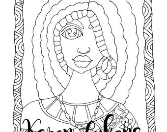 Nicole, 1 Adult Coloring Book Page, Printable Instant Download