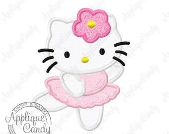 Kitty Ballerina Applique Machine Embroidery Design 4x4 5x7 6x10 hk dance dancer dancing bow Hello Flower INSTANT DOWNLOAD