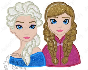 Frozen Sisters Applique Machine Embroidery Design 4x4 5x7 6x10 8x8 Queen Princess Sister sweet cute anna elsa olaf  INSTANT DOWNLOAD