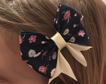 Blue / Pink Hair bow, Vintage clip, childrens hair accessories, bow clips, childrens hair piece, floral bow, flowers, hair accessories