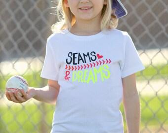 Girls softball shirts, Girls baseball shirt, baseball shirt, softball shirt, softball shirts for girls, girls softball, seams and dreams