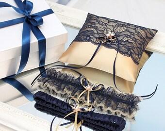 wedding set, navy blue garter set, gold garter set, navy blue ring bearer, navy blue ring pillow, gold ring bearer pillow, gold ring pillow