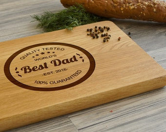 Personalized Christmas Gift for Dad, World's Best Dad Cutting Board, Fathers Day Gift, Gift for Him, Housewarming Gift, Custom Cutting Board