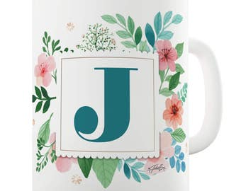 J Floral Letter Border Initial Ceramic Mug