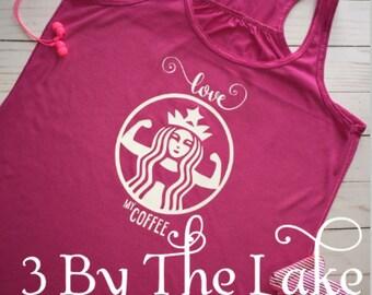 "Women's ""I love my coffee"" bodybuilder Flowy Exercise Tank Top"