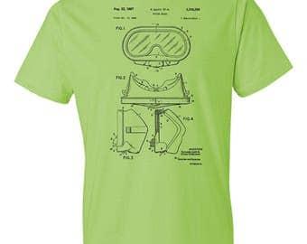 Diving Mask T-Shirt Patent Art Gift, Scuba T-shirt, Diving T-shirt, Scuba Mask, Scuba Diving Mask, Diving Mask Patent, Scuba Diver Gift