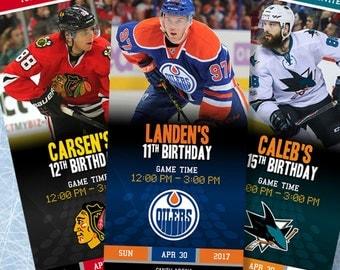 NHL Custom Ticket Birthday Party Invitations
