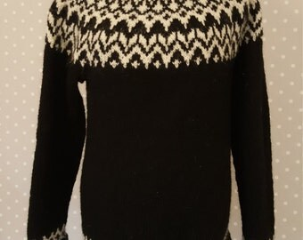 Black and white Icelandic sweater