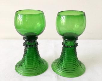 Antique Handmade German Roemer Glasses.