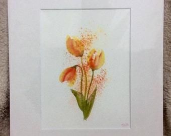 """Tulip trio 12"""" x 10"""" Original watercolour painting"""