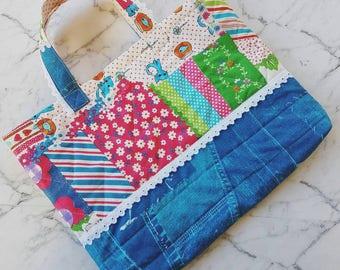 Kids Lesson Bag! Kids Totel Bag, School Bag, Lesson Bag, Library Bag, Girls Tote Bag, Childrens Bag in colorful cotton patchwork print!