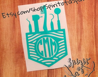 Dentists Decal - Dental Hygiene - Ortho - Monogram - Personalized - Pocket Decal - Car Decal - Wall Art - Tumbler Decal