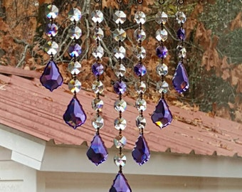 Crystal suncatcher with Violet/Purple accents