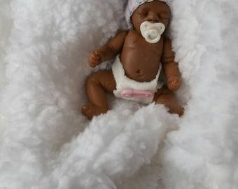 "Almost 3"" fullsculpt, posable, mini clay baby girl by TinytoesStudio"